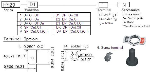 HY29 toggle on dpdt momentary switch diagram
